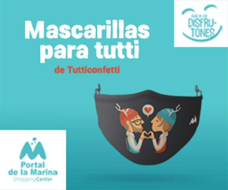 Portal de la Marina gives away masks by the Alicante artist Tutticonfetti