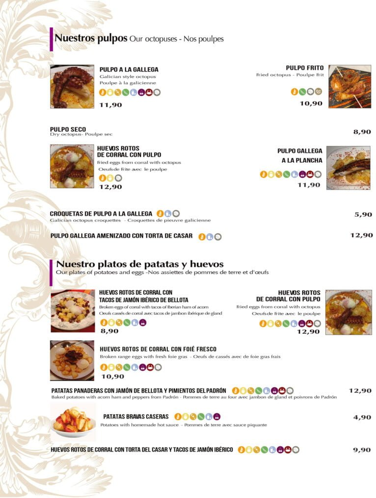 Octopus and dishes with potatoes and eggs to take away and home in Dénia - Bodega del Puerto
