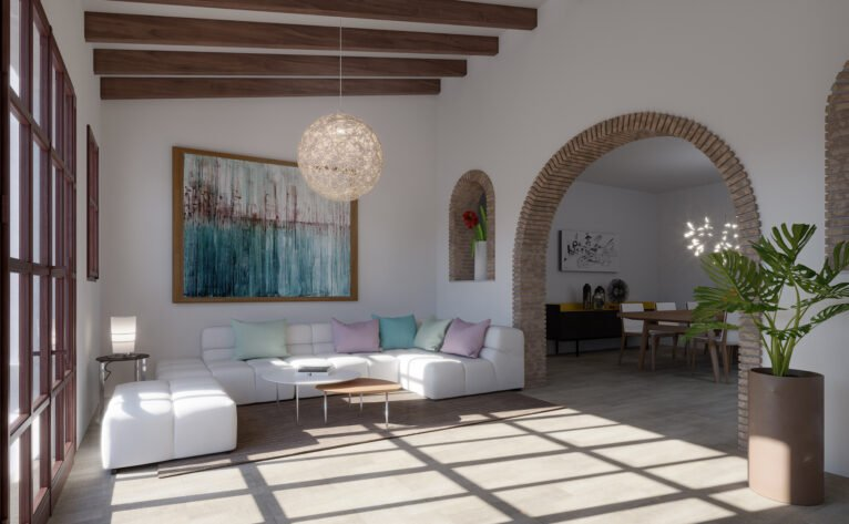 Living room of a villa for sale in Las Marinas in Dénia - Lucas Graf Projects