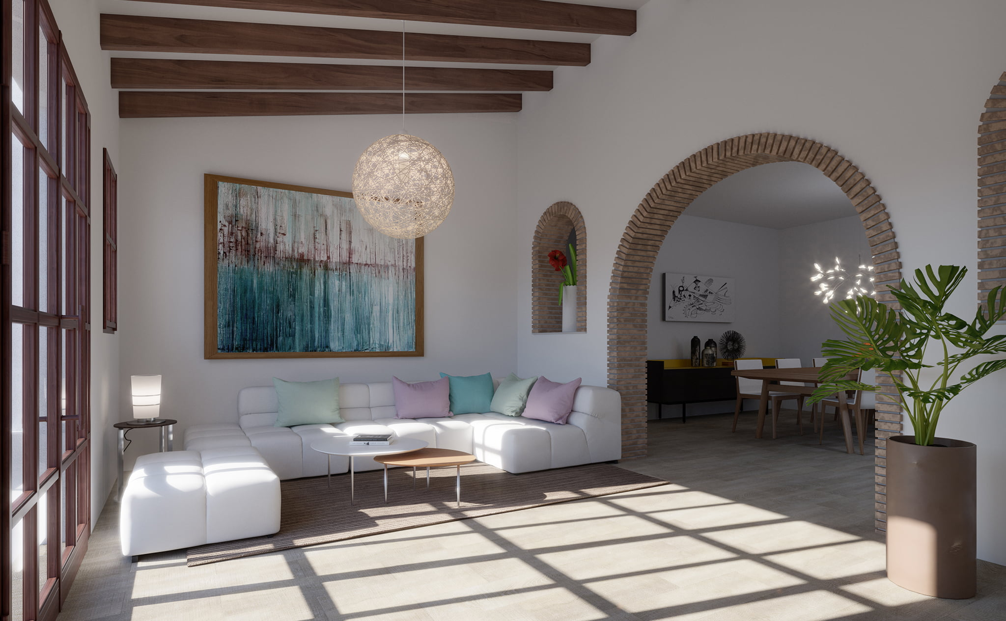 Salon d'une villa à vendre à Las Marinas à Dénia - Lucas Graf Projects