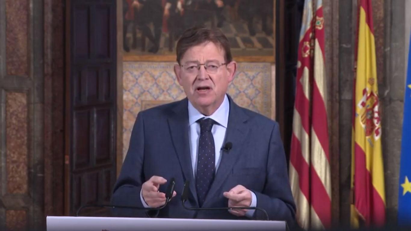 Ximo Puig durante la declaración institucional