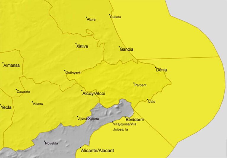 AEMET active l'alerte jaune jusqu'à mercredi