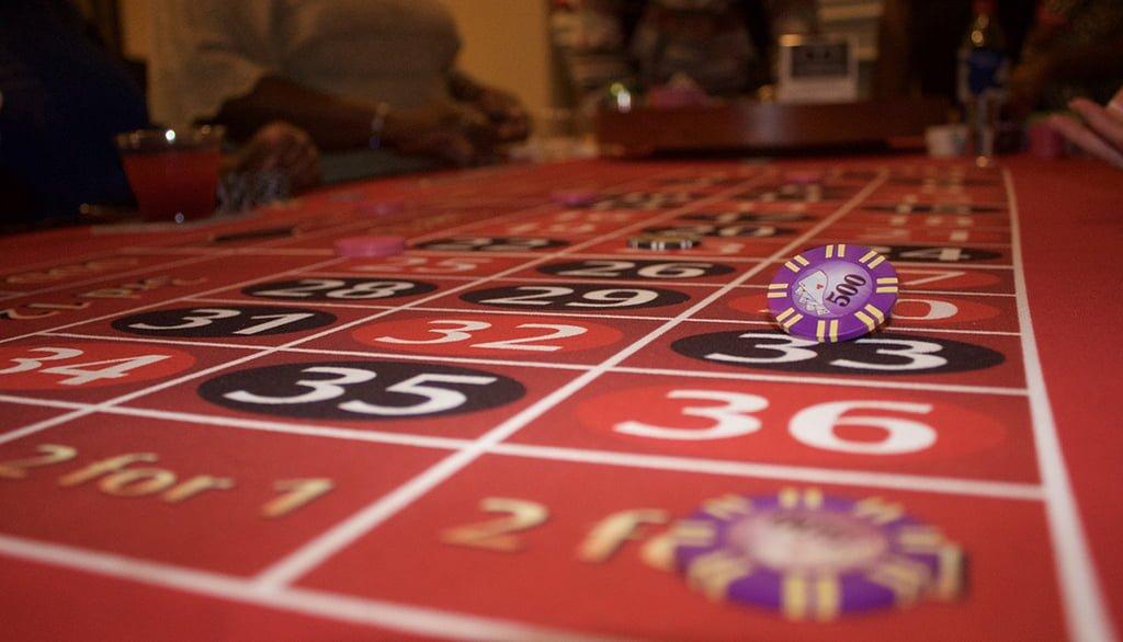 Gambling at a casino table