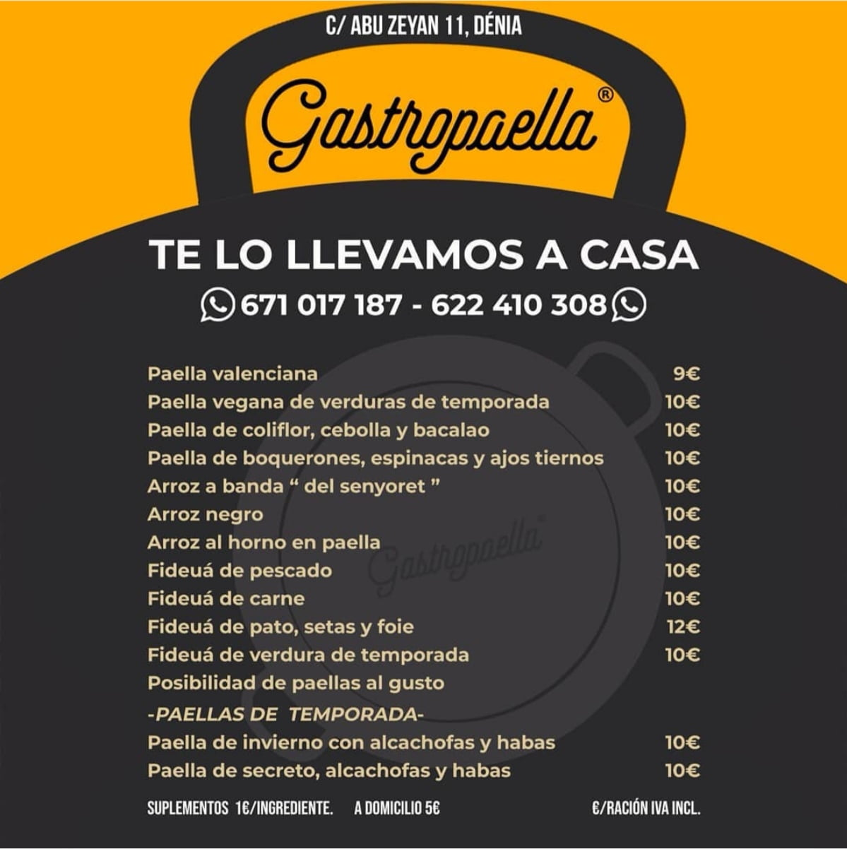 Gastropaella menu - home delivery Dénia