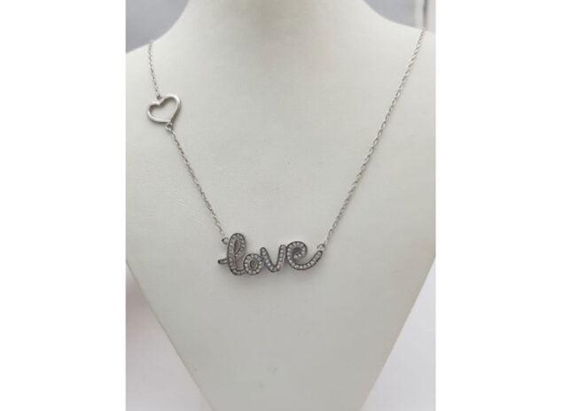 Image: Love pendant with zircons - Bonilla Jewelry