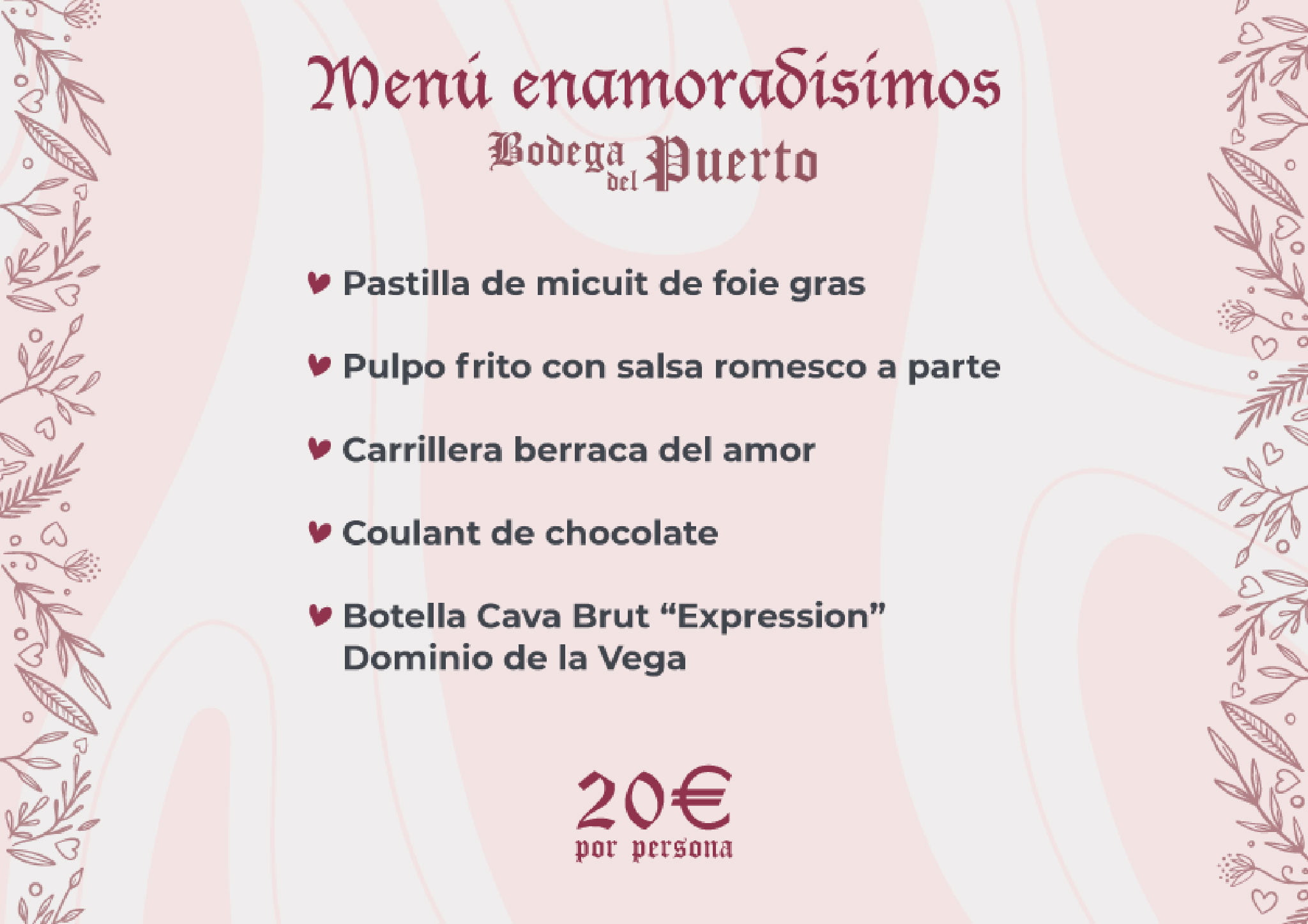 Valentine's menu in Dénia - Bodega del Puerto