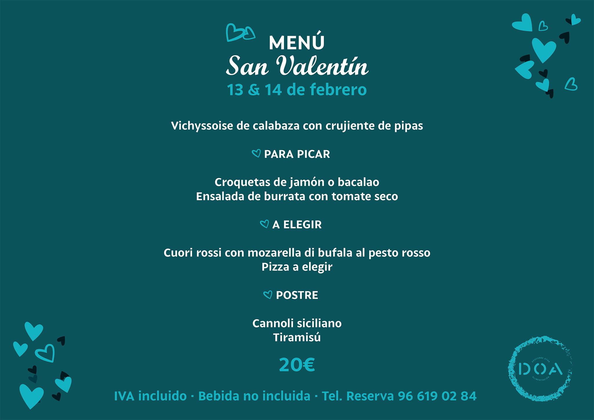 Valentine's menu in Dénia - DOA