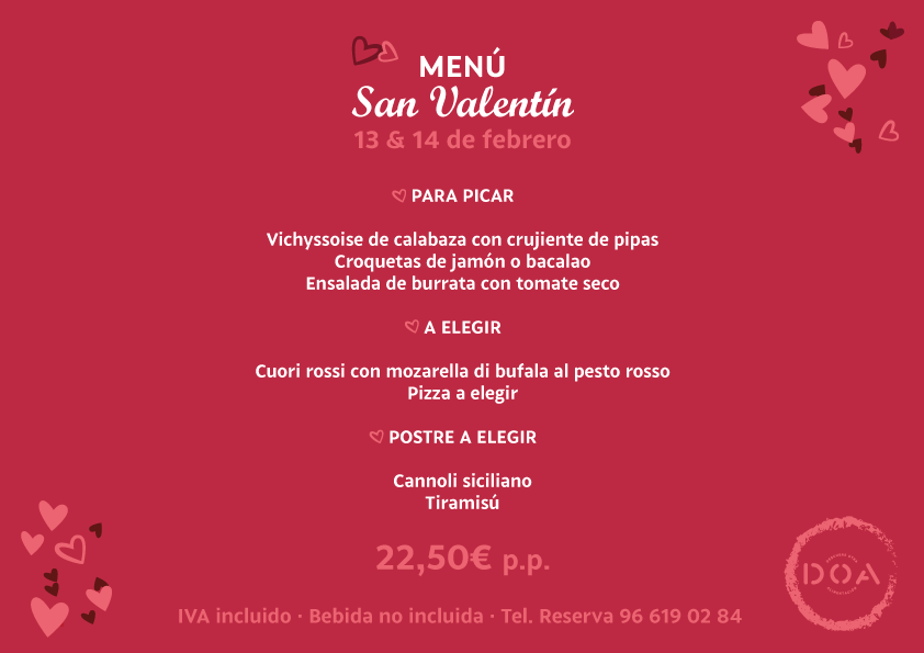 Valentine's Menu at Déna - DOA