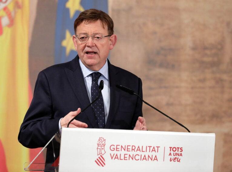 Ximo Puig durante el anuncio de las medidas de febrero