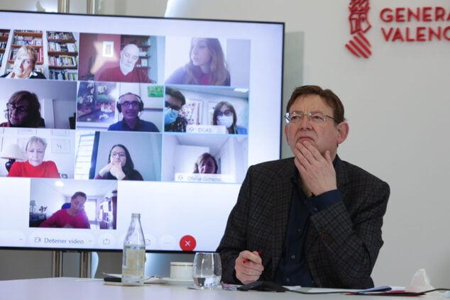 Imagen: Ximo Puig durante una reunión con Sanitat sobre el proceso de vacunación