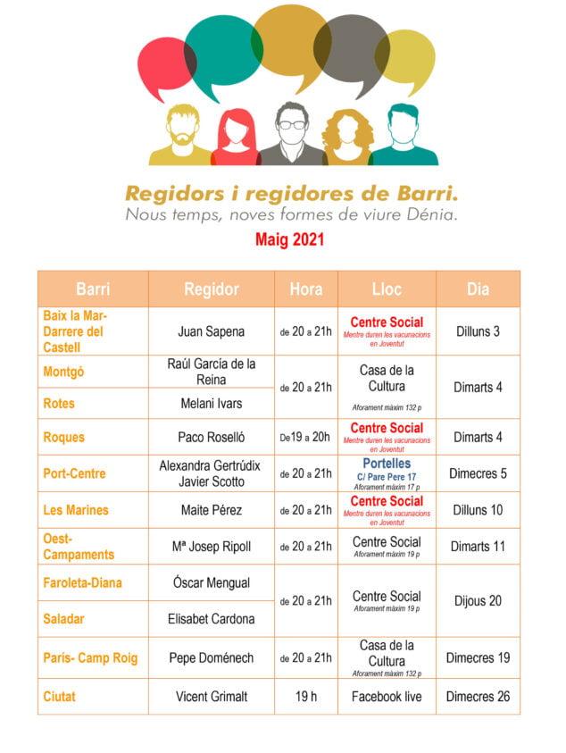 Imagen: Calendario de reuniones de barrio
