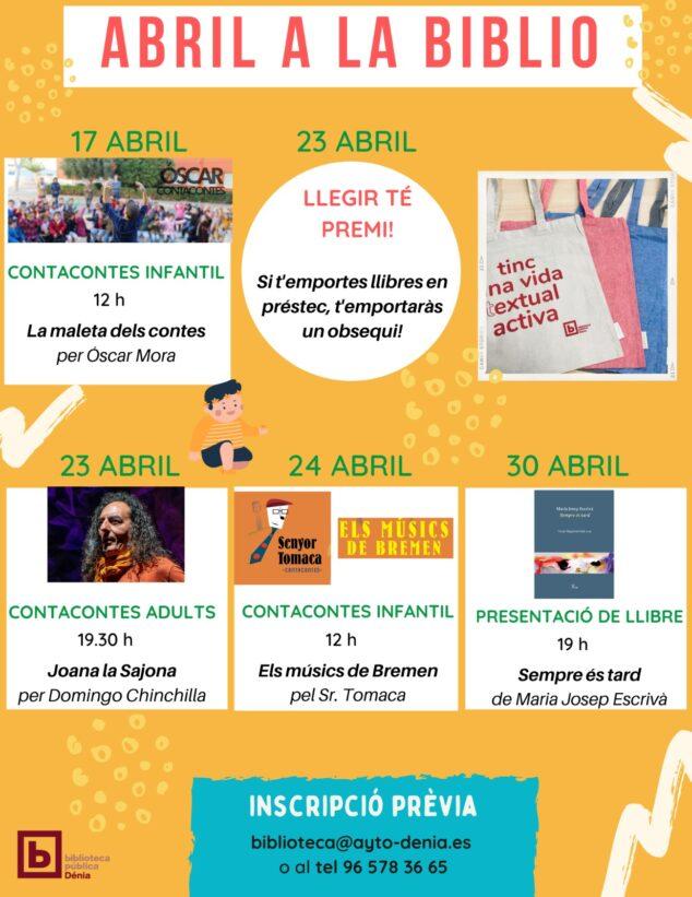 Imagen: Cartel actividades Biblioteca Dia del Llibre Dénia