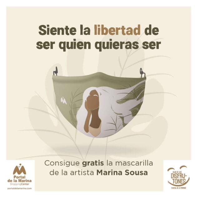 Imagen: La mascarilla diseñada por Marina Sousa para Portal de la Marina