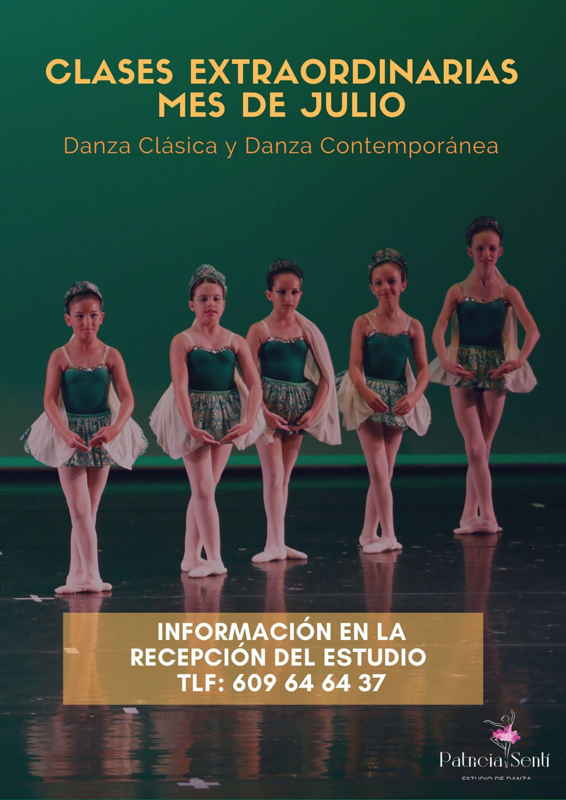 Clases en el mes de julio de danza clásica y contemporánea en Estudio de Danza Patricia Sentí