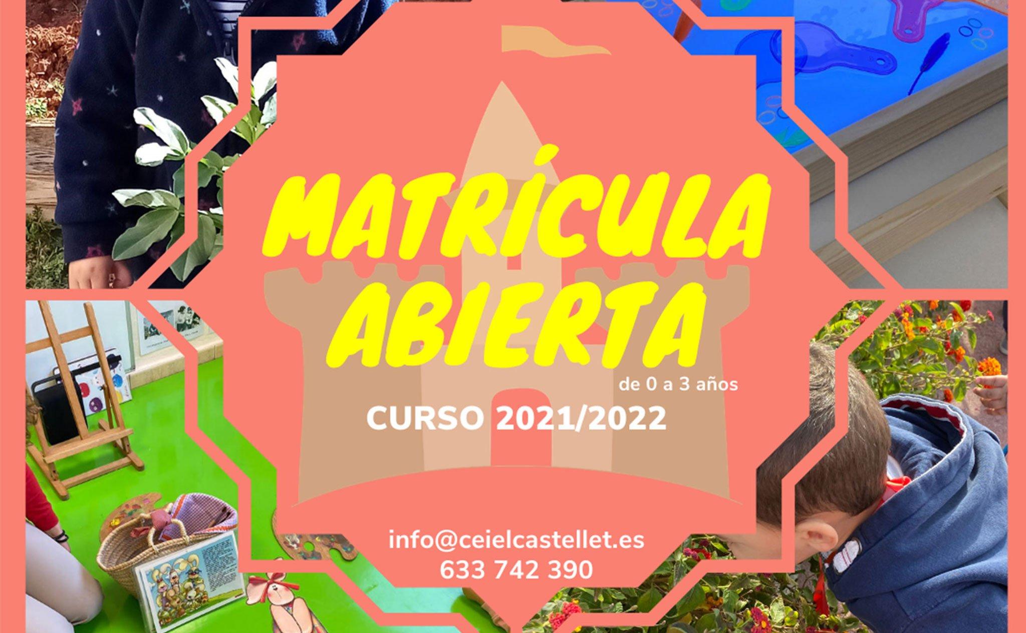 Matrícula abierta en CEI El Castellet para el curso 2021-2022
