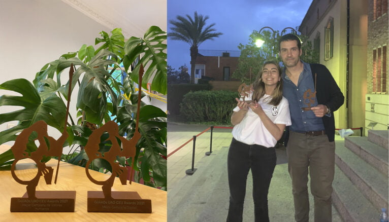 Miembros de Sapristi recogiendo el premio