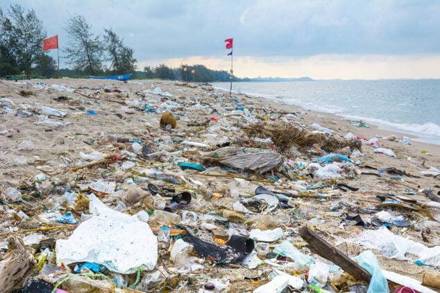 Imagen: Plásticos acumulados en una playa