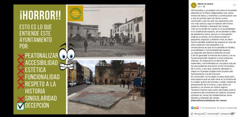 Publicación de la plataforma Obrim el centre en su perfil de Facebook