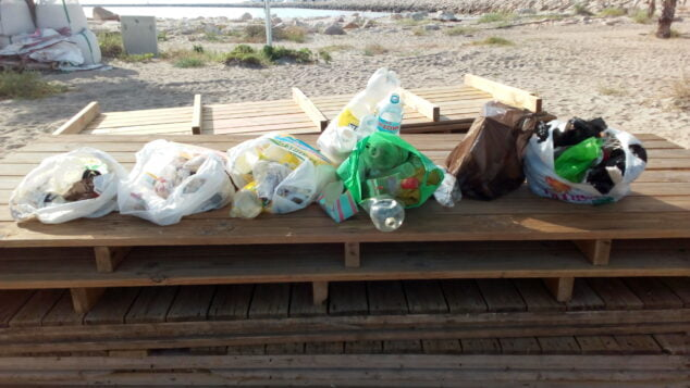 Imagen: Residuos de la limpieza de la Playa del Raset