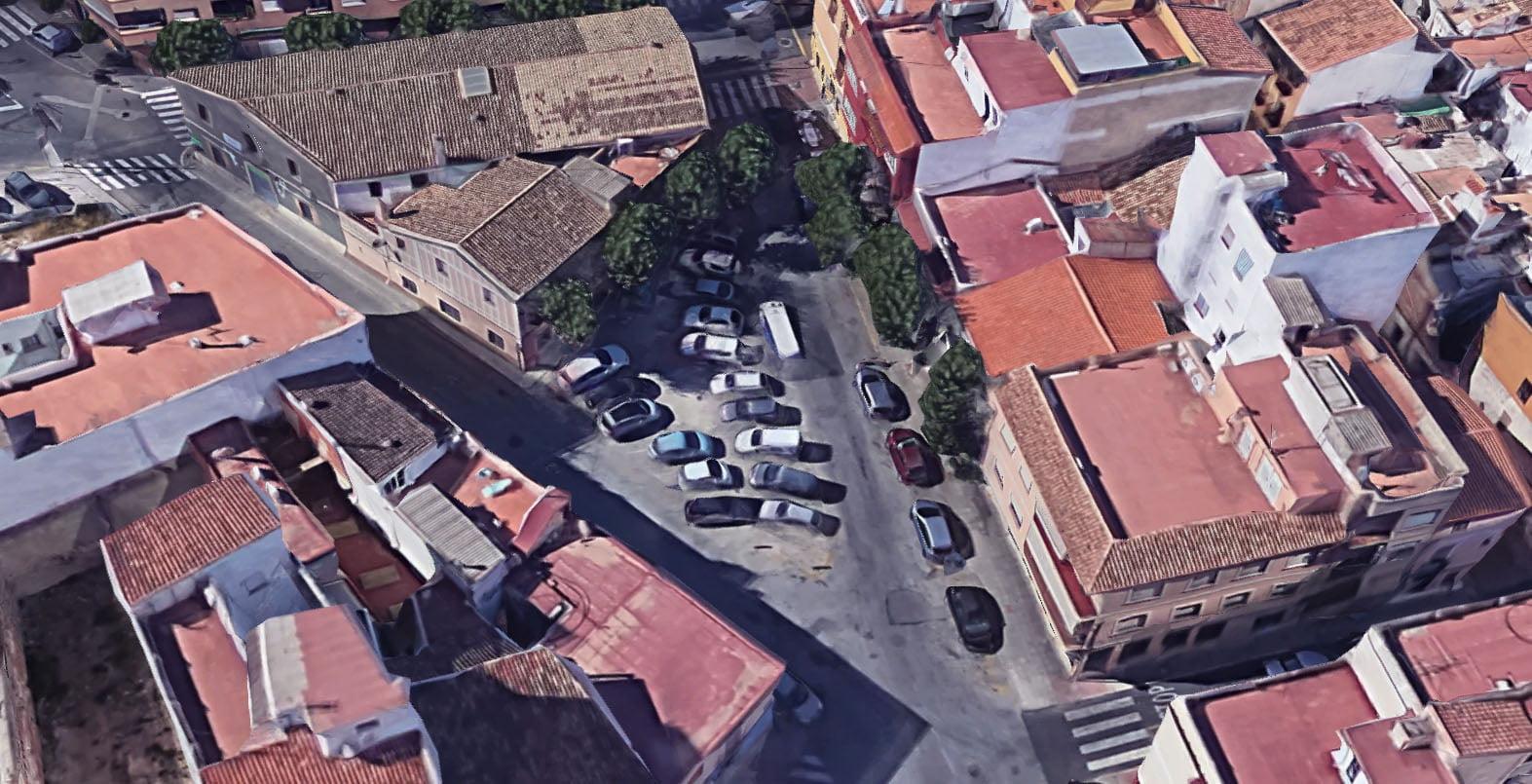 Vista aérea de la plaza Valgamedios antes de las obras