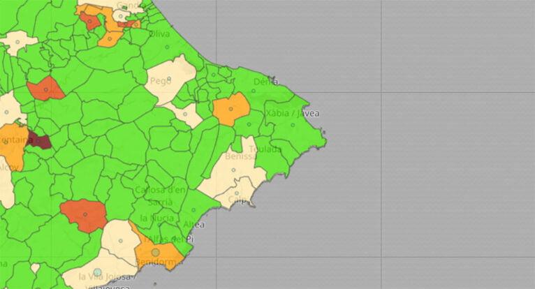 Actualización de datos de coronavirus por municipio del 22 de junio de 2021