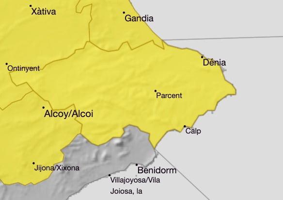 Alerta amarilla en el litoral norte de Alicante