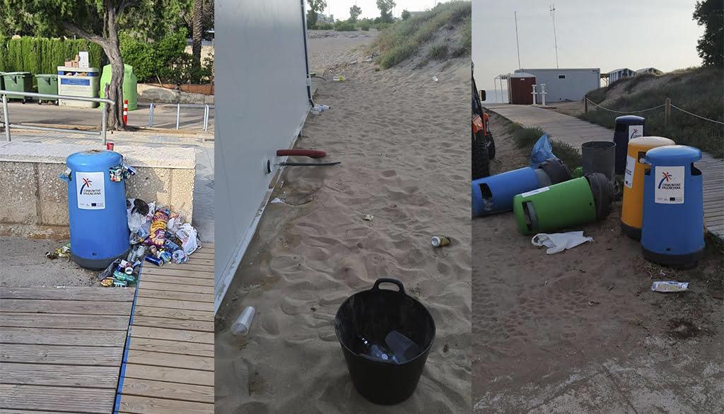 Basura olvidada en las playas tras los botellones del primer fin de semana sin toque de queda