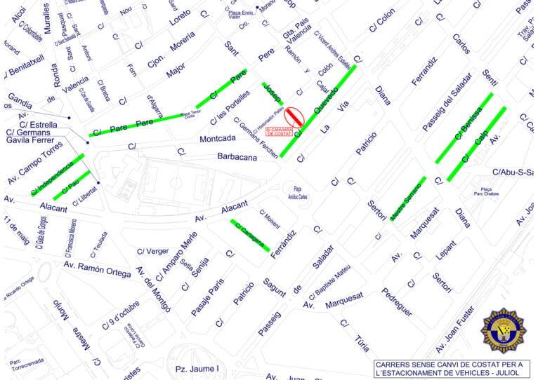 Calles sin cambio de estacionamiento