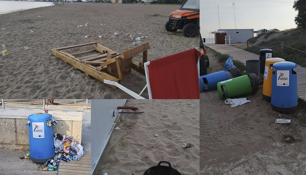 Portada El fin del toque de queda deja basura y destrozos en las playas de Dénia