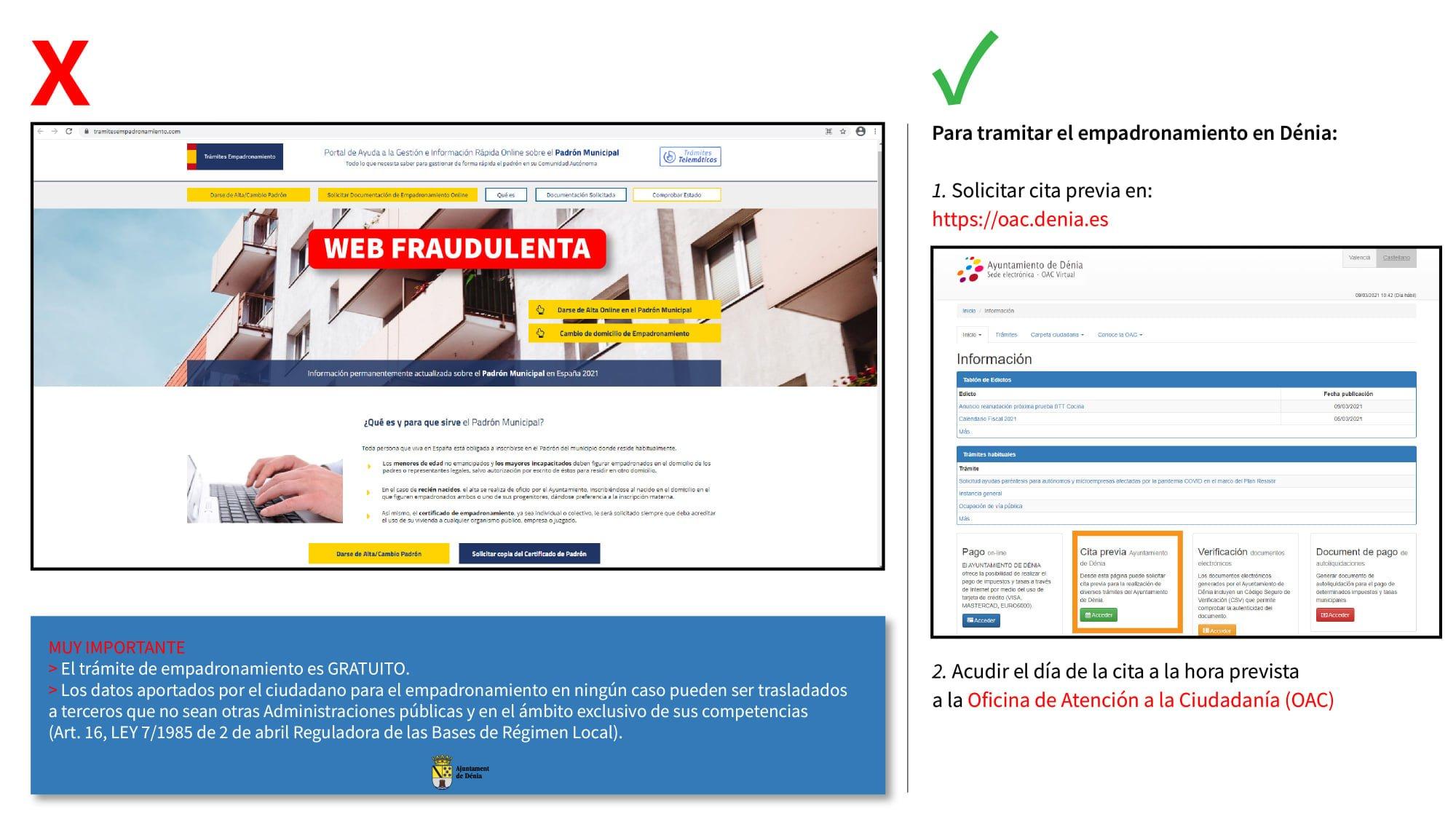 Publicación del Ayuntamiento de Dénia en las redes sociales