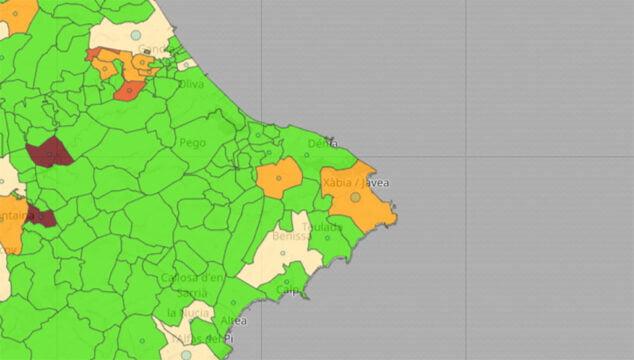Imagen: Situación del coronavirus por municipio el 15 de junio de 2021
