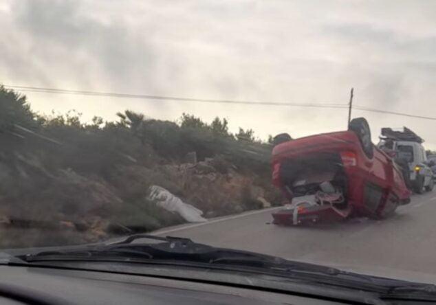 Imagen: Vehículo accidentado en Les Planes