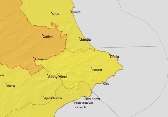 Alerta amarilla por altas temperaturas Marina Alta