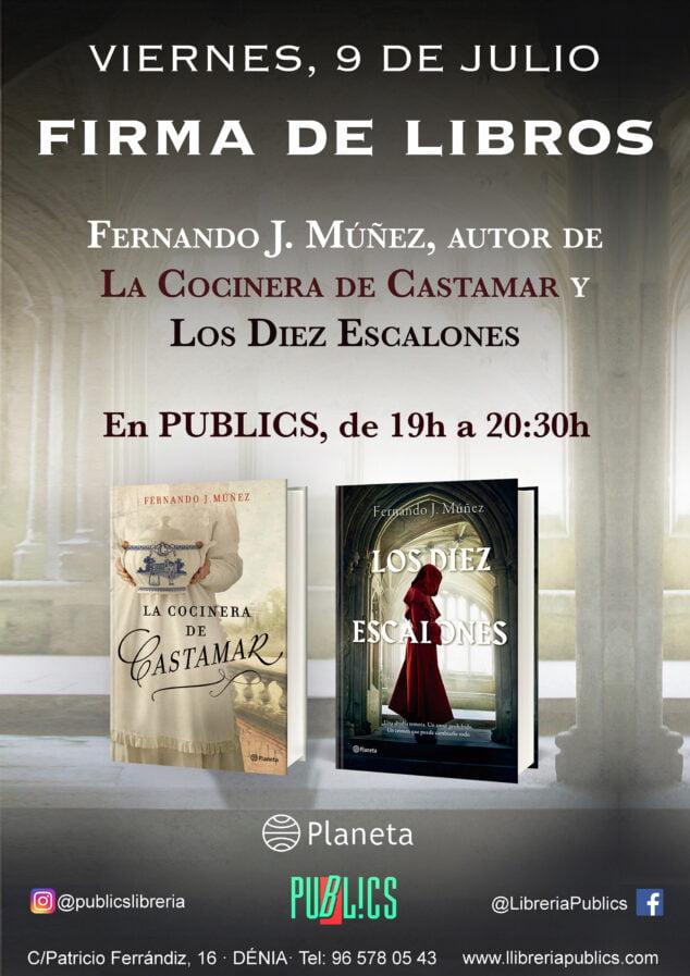 Imagen: Cartel de la firmade libros de Fernando J. Múñe en Dénia