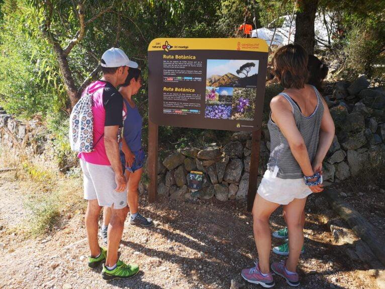 Cartel en el inicio de la ruta botánica del camí de les Colònies