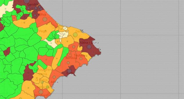 Imagen: Coronavirus por municipio el 9 de julio de 2021