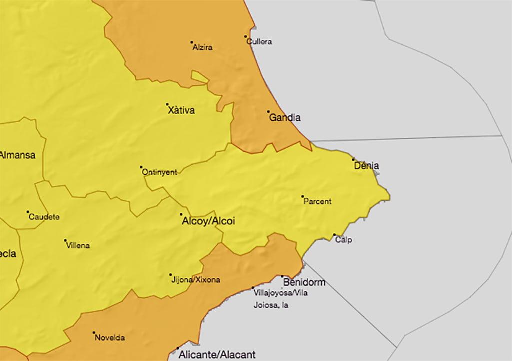 La AEMET activa la alerta amarilla en Dénia por altas temperaturas