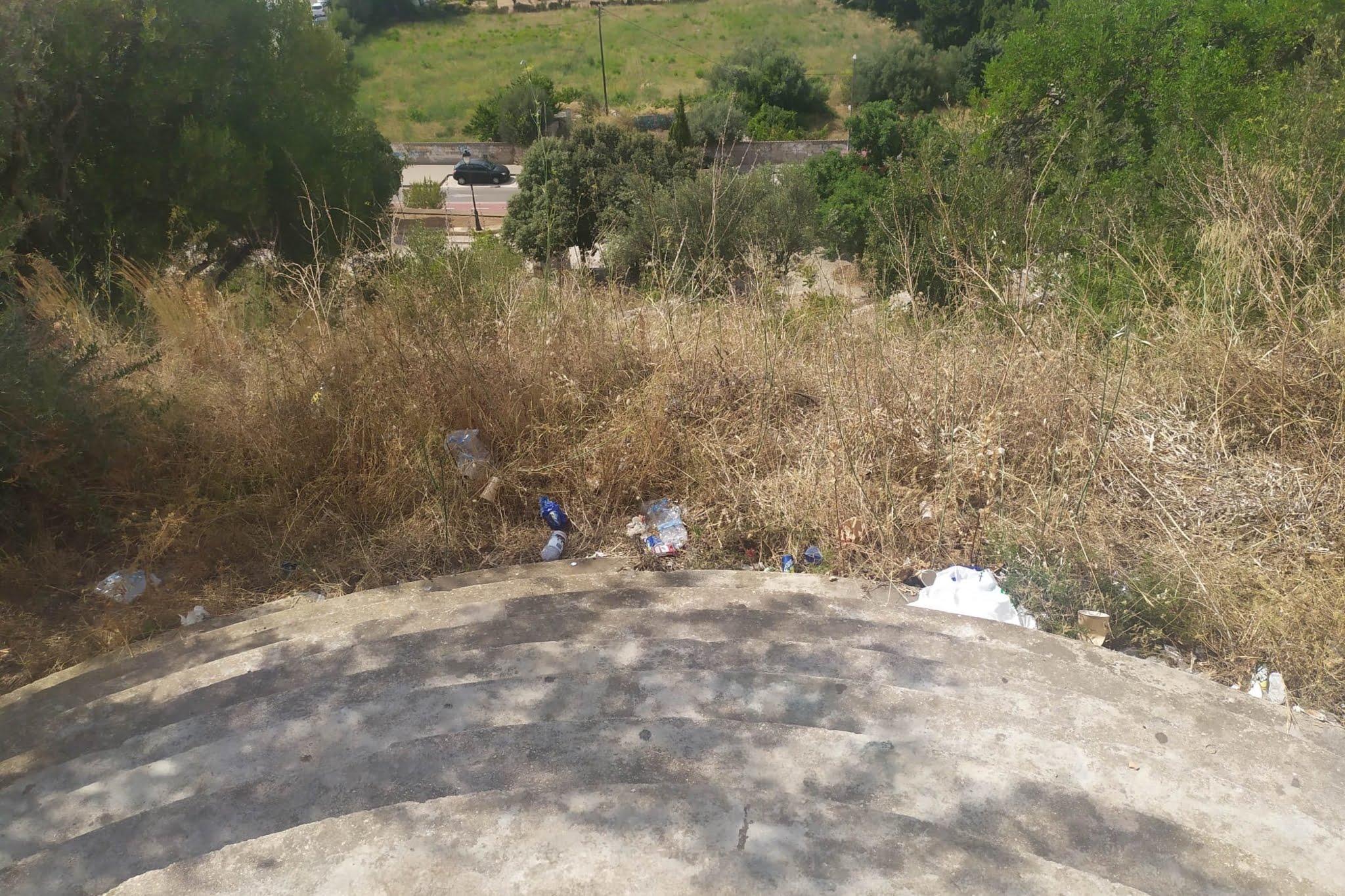 Limpieza en la vertiete norte del castillo de Dénia