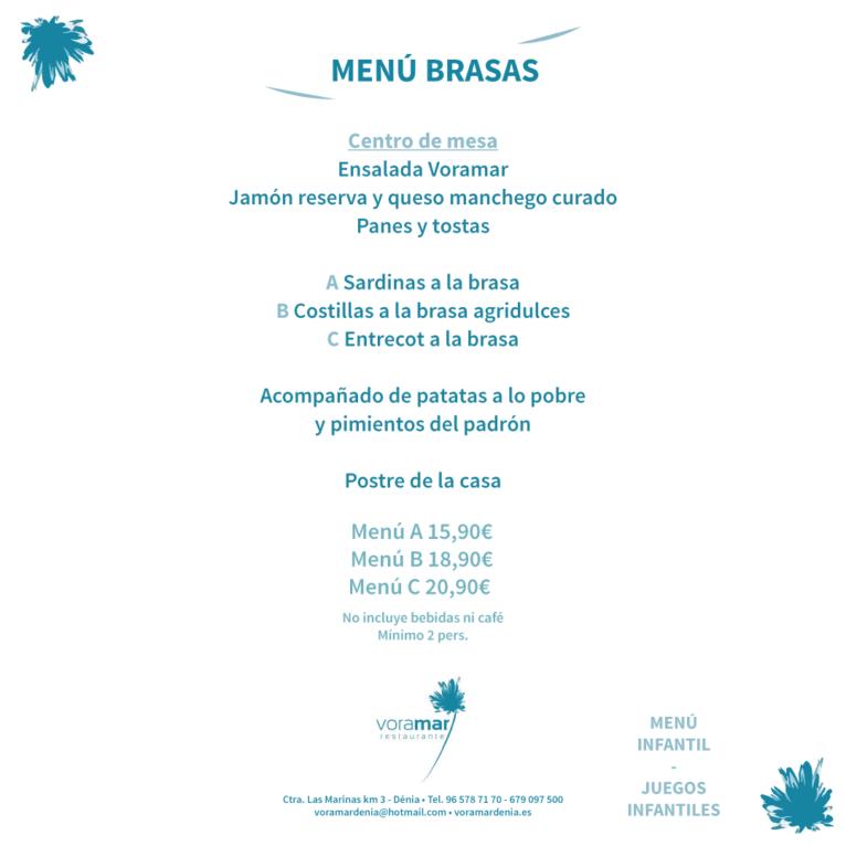 Menú brasas Restaurante Voramar