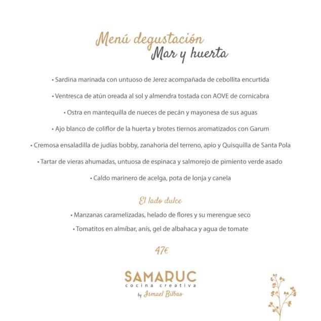 Imagen: Samaruc menú degustación