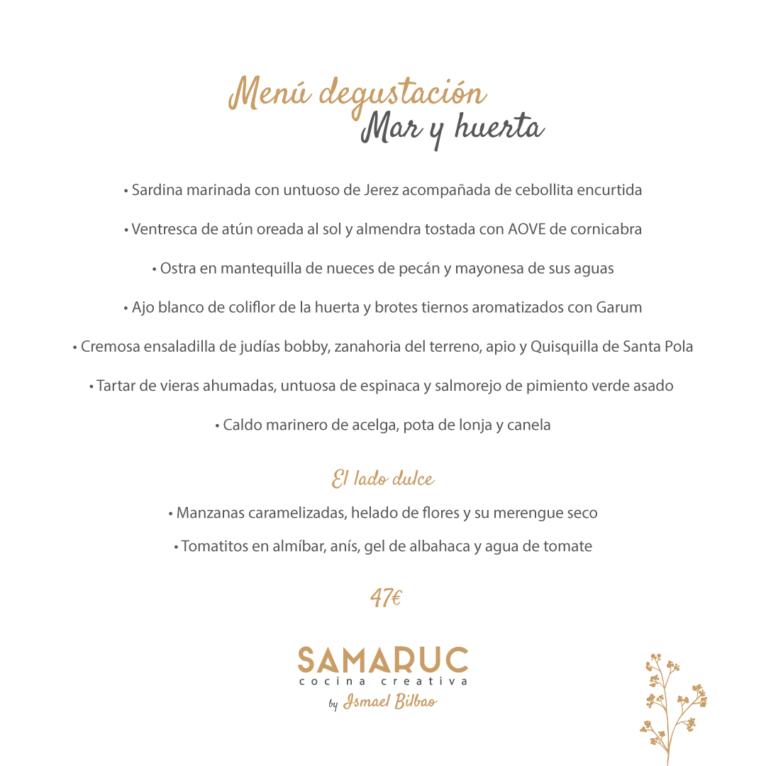 Samaruc menú degustación