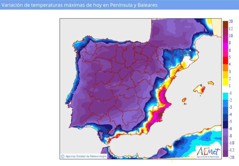 Variación de temperaturas previstas para hoy respecto a la última jornada