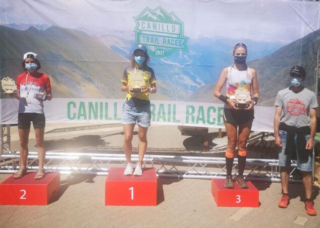 Imagen: Aida Pérez en el podio de la Canilló Trail Races, Andorra
