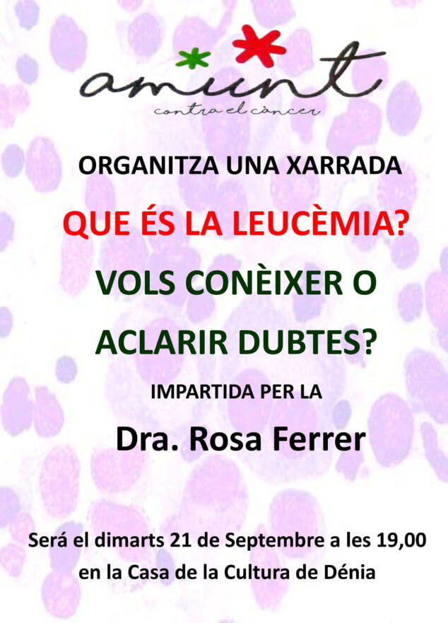 Imagen: Cartel de la charla sobre la leucemia