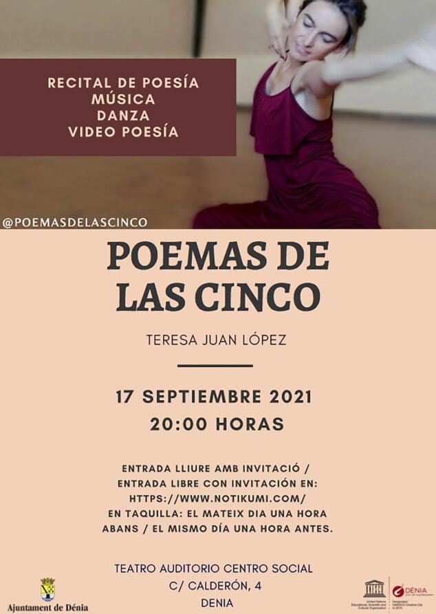 Imagen: Cartel del recital Poemas de las cinco