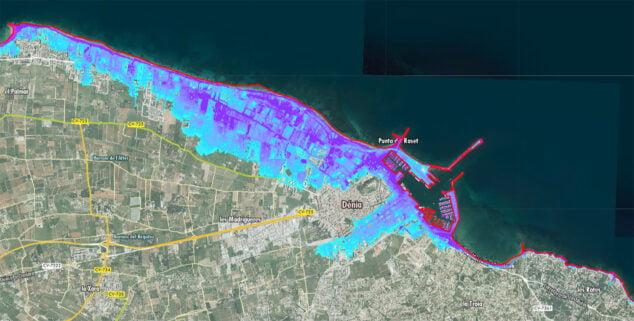 Imagen: Posibles inundaciones pronosticadas en Dénia para mitad de siglo